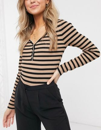 Stripes Casual Style V-Neck Long Sleeves Office Style
