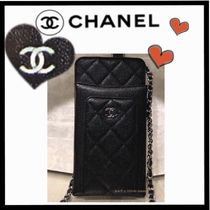 CHANEL CHAIN WALLET Casual Style Unisex Calfskin Chain Plain Shoulder Bags
