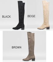 Round Toe Casual Style Plain Block Heels Over-the-Knee Boots