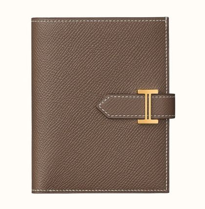 HERMES Bearn Calfskin Plain Leather Logo Folding Wallets