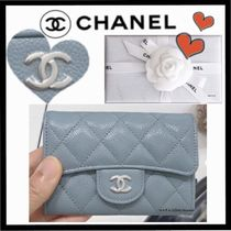 CHANEL MATELASSE Unisex Calfskin Plain Small Wallet Coin Cases