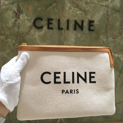 CELINE Small Pouch In Cotton With Celine Print And Calfskin