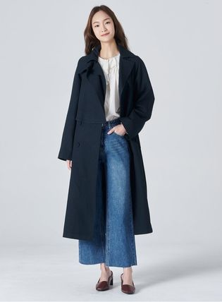 Casual Style Unisex Street Style Logo Trench Coats