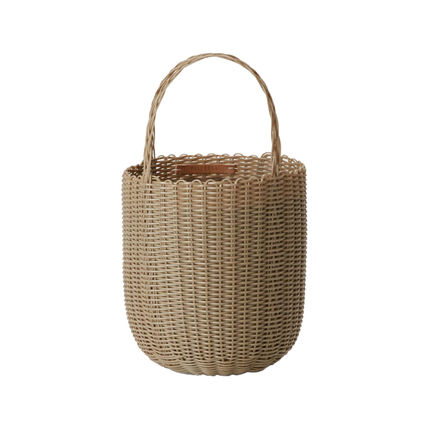 Canvas Plain Leather Straw Bags