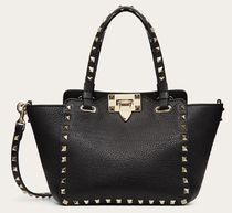 VALENTINO Studded Plain Leather Party Style Elegant Style