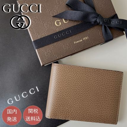 GUCCI Plain Leather Logo Folding Wallets