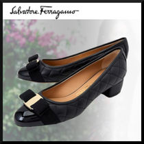 Salvatore Ferragamo Casual Style Enamel Plain Leather Block Heels Elegant Style