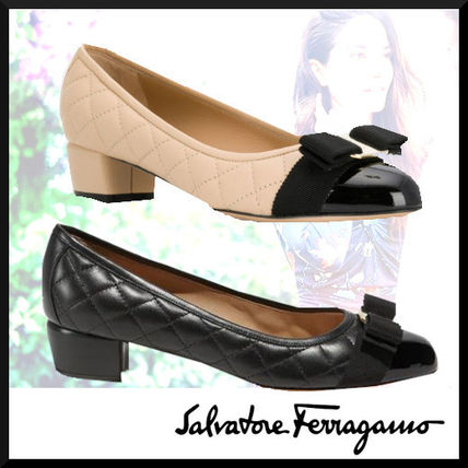 Salvatore Ferragamo Round Toe Casual Style Enamel Plain Leather Block Heels