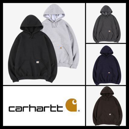 Carhartt Hoodies Unisex Street Style Long Sleeves Plain Cotton Logo Hoodies