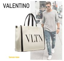 VALENTINO VLTN Canvas Leather Logo Totes