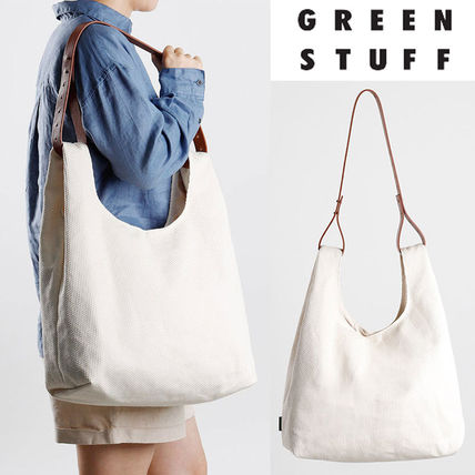 GREEN STUFF Totes Canvas Street Style A4 Plain Oversized Logo Totes