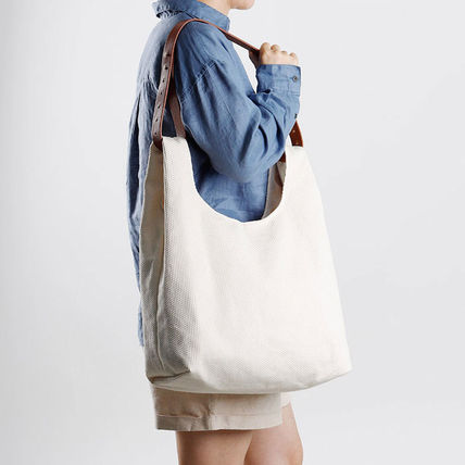 GREEN STUFF Totes Canvas Street Style A4 Plain Oversized Logo Totes 3