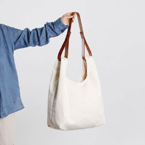 GREEN STUFF Totes Canvas Street Style A4 Plain Oversized Logo Totes 4