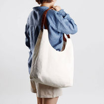 GREEN STUFF Totes Canvas Street Style A4 Plain Oversized Logo Totes 5