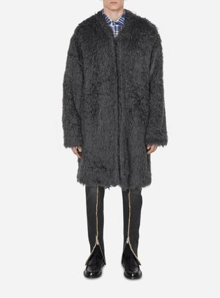 Faux Fur Plain Coats