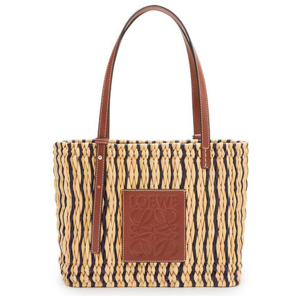 LOEWE Tropical Patterns Blended Fabrics Logo Straw Bags
