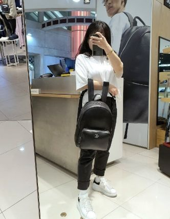 Calvin Klein CALVIN KLEIN JEANS Casual Style Unisex Street Style A4 Logo Backpacks
