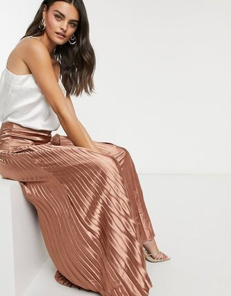 Casual Style Plain Long Party Style Office Style Maxi Skirts
