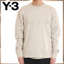 Y-3 Crew Neck Street Style Long Sleeves Cotton Logo Designers