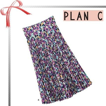 Flower Patterns Casual Style Pleated Skirts Office Style