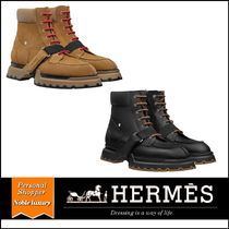 HERMES Mountain Boots Unisex Suede Street Style Plain Leather