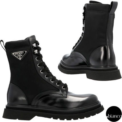 PRADA Plain Toe Mountain Boots Blended Fabrics Logo Military