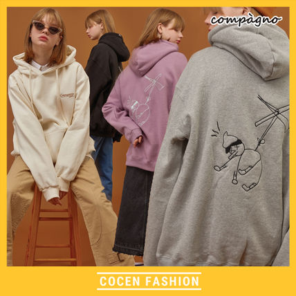 COMPAGNO Hoodies Unisex Street Style Cotton Oversized Hoodies