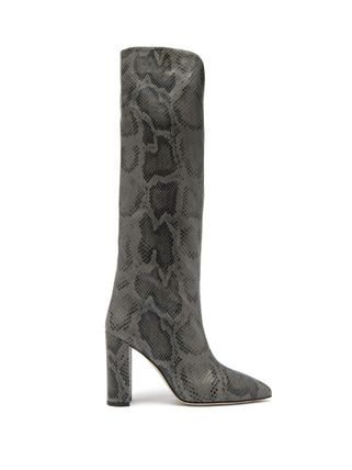 《PARIS TEXAS》Knee-high python-effect leather boots