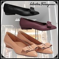 Salvatore Ferragamo Casual Style Plain Leather Block Heels Party Style