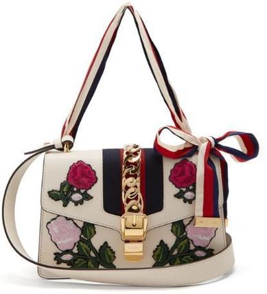 GUCCI Sylvie Stripes Flower Patterns Casual Style 2WAY Leather