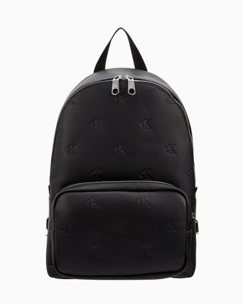 Logo Faux Fur Monogram A4 Street Style Backpacks