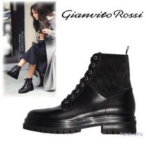 Gianvito Rossi Round Toe Casual Style Plain Leather Elegant Style