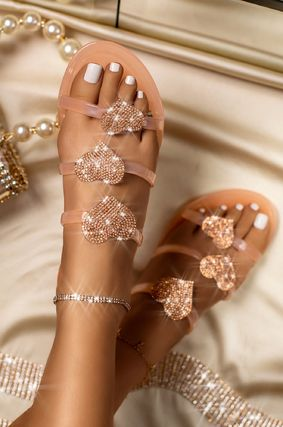 Heart Open Toe Casual Style With Jewels Elegant Style
