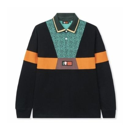 Pullovers Collaboration Bi-color Long Sleeves Cotton Polos