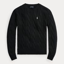 POLO RALPH LAUREN Cable Knit Casual Style Rib Long Sleeves Cotton Office Style