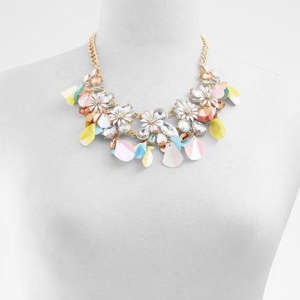 Costume Jewelry Blended Fabrics Flower Studded Chain