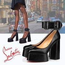 Christian Louboutin Platform Casual Style Plain Leather Pin Heels Party Style
