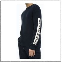 Calvin Klein Sweaters Long Sleeves Plain Logos on the Sleeves Logo Sweaters 4