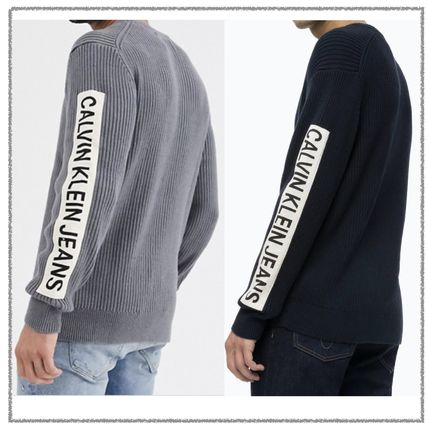 Calvin Klein Sweaters Long Sleeves Plain Logos on the Sleeves Logo Sweaters