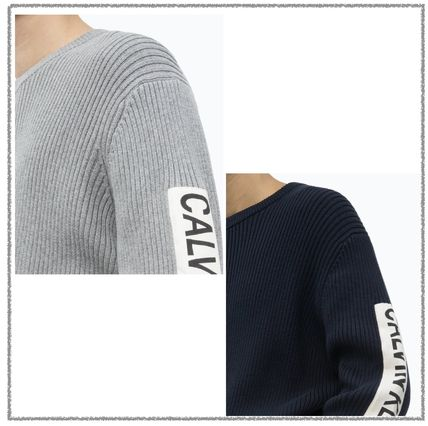 Calvin Klein Sweaters Long Sleeves Plain Logos on the Sleeves Logo Sweaters 2