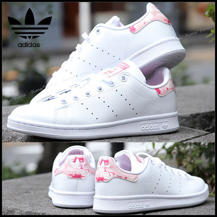 adidas STAN SMITH Flower Patterns Casual Style Street Style Plain Leather Logo