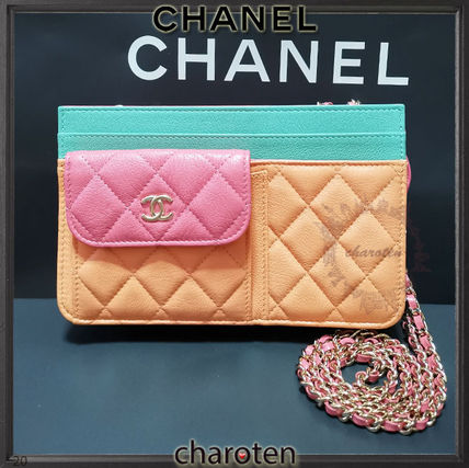 CHANEL CHAIN WALLET Casual Style 3WAY Bi-color Chain Plain Leather Party Style