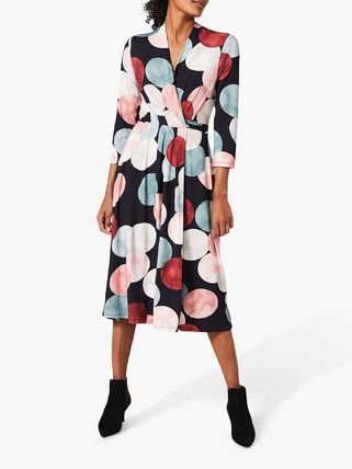 Wrap Dresses Dots Casual Style Flared V-Neck Cropped Medium