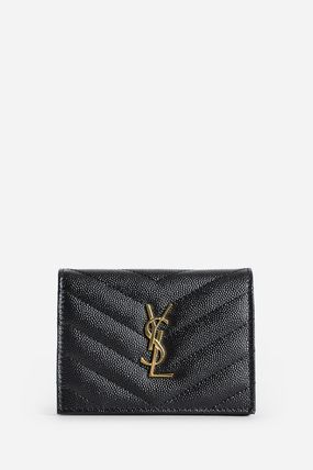 Saint Laurent Folding Wallet Small Wallet Logo Unisex Calfskin Plain