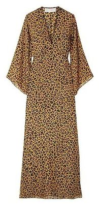 Leopard Patterns Casual Style Tight Maxi V-Neck Long Sleeves