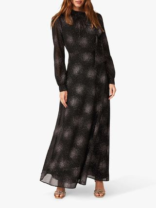 Maxi Bi-color Long Sleeves Long Party Style High-Neck