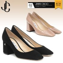 Jimmy Choo Square Toe Casual Style Suede Plain Leather Block Heels