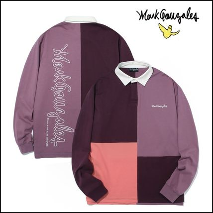 Mark Gonzales Shirts Unisex Street Style Bi-color Long Sleeves Oversized Polos