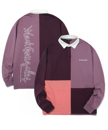 Mark Gonzales Shirts Unisex Street Style Bi-color Long Sleeves Oversized Polos 2