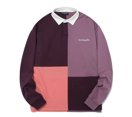 Mark Gonzales Shirts Unisex Street Style Bi-color Long Sleeves Oversized Polos 3